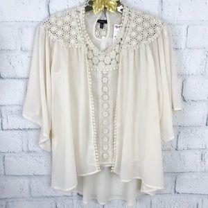Monteau 2 Pcs Set Ivory Lace Sheer Cardigan Blouse
